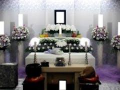 松戸市斎場(2F小式場)で男性向きな色合いの花祭壇