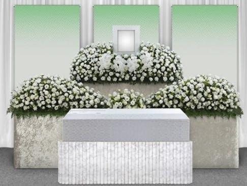 白を基調にしたモダンなデザインの生花祭壇